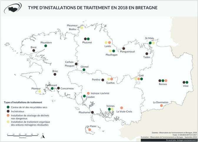 carte-installations-traitement-déchets-Bretagne-2018