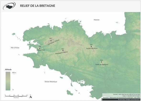 Le relief en Bretagne
