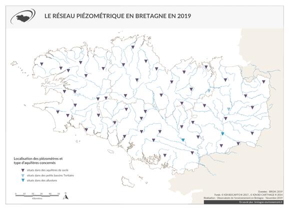 Carte du réseau piézométrique en Bretagne