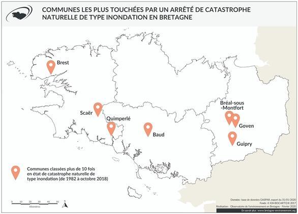 Communes les plus touchées par un arrêté de catastrophe naturelle de type inondation en Bretagne