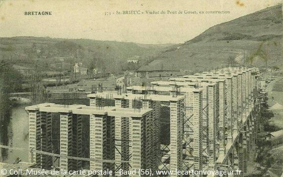 Carte postale ancienne du viaduc de Saint-Brieuc