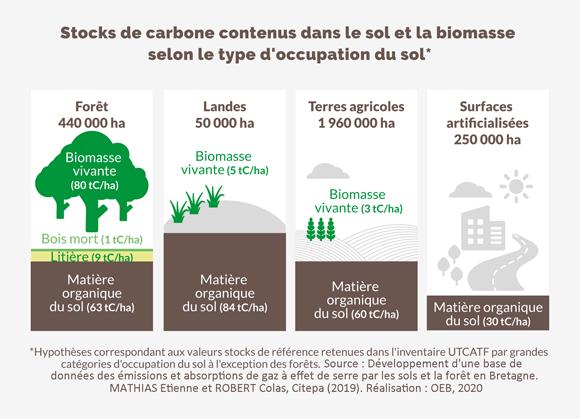 Stocks de carbone contenus dans le sol et la biomasse selon le type d'occupation du sol