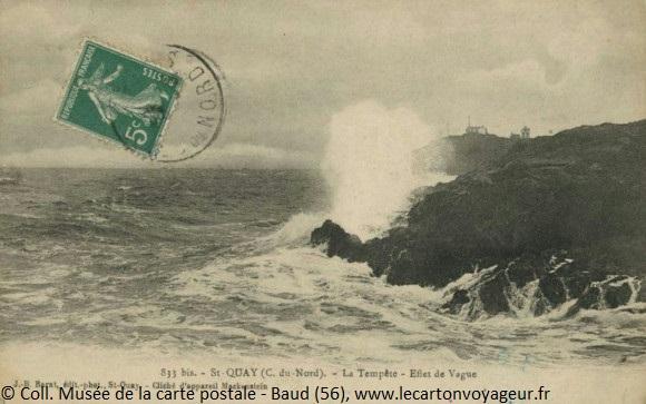 Carte postale ancienne : la tempête, effet de vague