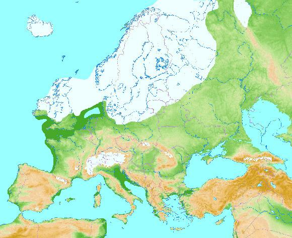 Carte du dernier maximum glaciaire en Europe