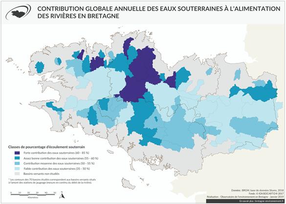 Contribution globale des eaux souterraines à l'alimentation des rivières en Bretagne