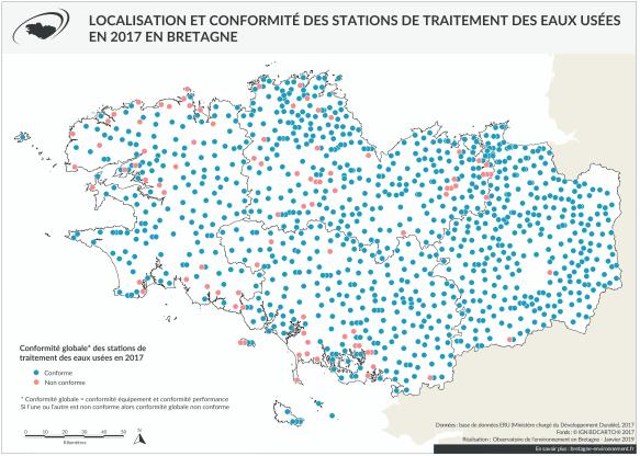 Niveau de conformité des station d'assainissement en 2017 en Bretagne