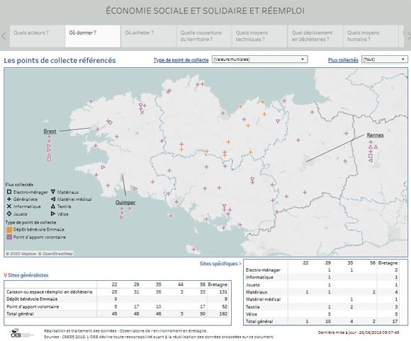 Localisation en Bretagne des organismes de l'économie sociale et solidaire collectant des objets et matériaux pour du réemploi